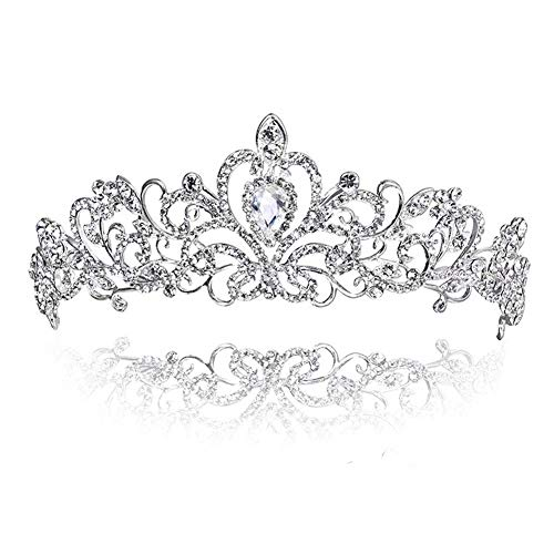 Tiara Corona de Cristal con Diamante de imitación, para Corona Nupcial ,Proms...