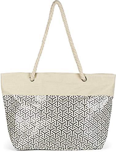 styleBREAKER Damen XXL Große Strandtasche mit Metallic Infinity Muster und Reißverschluss, Schultertasche, Shopper 02012347, Farbe:Beige-Schwarz