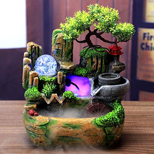 Tabletop Fountain, Mini Silent Colorful Light Waterfall Fountain Zen Meditation Desktop Simulation Resin Rockery Water Fountain Bonsai Home Decor for Indoor Outdoor Office Bedroom Relaxation(US)