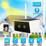 NOSSON Caméras de Surveillance dôme, caméra IP Solaire 1080P, caméra étanche de Surveillance de sécurité 2MP 9600mA Batterie IR Vision Nocturne PIR-Solar Panels 64GB