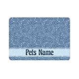 Alfombrilla de comida personalizada, diseño de cachemira, color azul retro #4, alfombrilla de alimentación para perro, gato, mascota, antideslizante, impermeable, añade tu texto/nombre