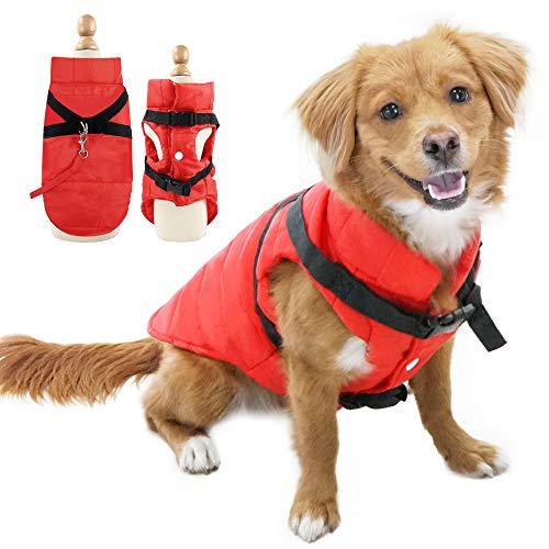 Eastlion Winter Hundemantel Warm Wasserdicht Hundejacke Welpen Hunde Kleidung Bekleidung Weste mit D-Ring,Rot,Größe XS