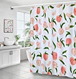 MoFCravy Peach Shower Curtain for Bathroom, Fruit Cute Shower Curtain Set with 12 Hooks, Colorful Shower Curtain Peach Bathroom Decor of Waterproof Fabric Material, 72''×72'', Peachy Pink