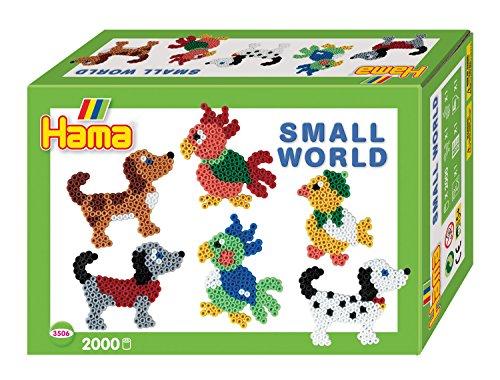 Hama 3506 Geschenkverpakking, kleine wereld hond en papegaai, ca. 2000 strijkkralen en 2 stiftplaten.