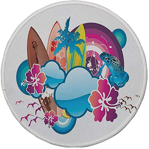 Antislip Rubber Ronde muismat, Zomer, Cartoon Print Seizoen Hot Beach Vbes met Surfing Boot Golven Bloemen Kikkers Artwork