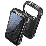 Batterie Externe 26800mAh Chargeur Solaire Portable QI Sans Fil Power Bank avec 3 Voies Entrée + 4 Sorties Max 3,1A Batterie de Secours intégrée 18LED pour Samsung Huawei Randonnée etc
