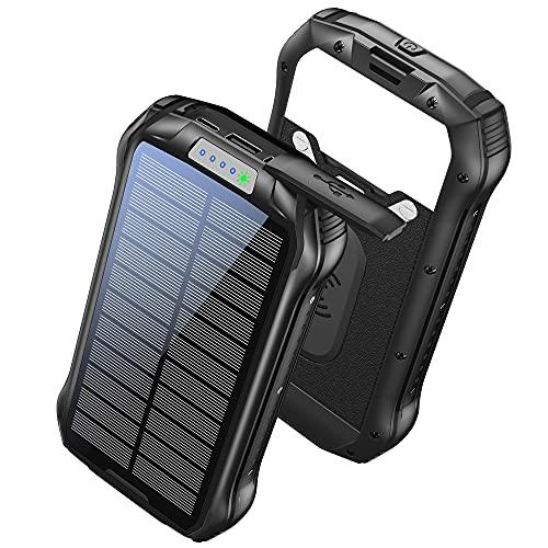 GRDE Cargador Solar 26800mAh Solar Power Bank Carga Rapida Tipo-C, Carga Inalámbrico 4 Modo Iluminación 18 LED para iPad Teléfono y Viajes Cámping