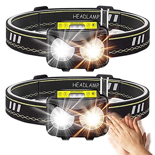 Linterna Frontal LED USB Recargable, BRGOOD 2 Piezas Linterna de Cabeza Sensor LED con 6 Modos,Búho 300 Lúmenes Lámpara de Cabeza IPX65 Impermeable Super Brillante para Correr,Acampar,Pescar,Ciclismo