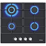 24'' Gas Cooktop, IsEasy 4 Burners Gas Stove Drop-in Tempered Glass 24 inch Gas Stove Top, 120V Dual Fuel LPG/NG Gas Cooker With Thermocouple Protection
