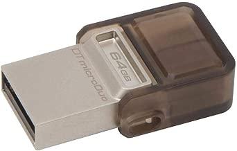 Kingston 64GB DataTraveler microDuo USB 3.0 On-The-Go Flash Drive - 64 GB - USB 3.0, Micro USB - Black - Rotating Cap