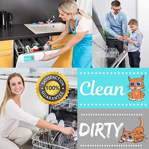Dishwasher Magnet Clean Dirty Sign -  (Aqua Cat)