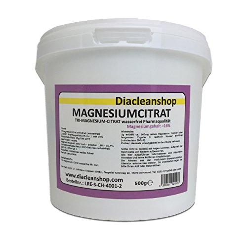 Magnesiumcitrat Pulver 500g - Tri-Magnesium-Citrat anhydrat - wasserfrei - Pharmaqualität aus Deutschland - hoher Magnesiumgehalt 16% - Gentechnikfrei - ohne Zusatzstoffe