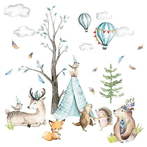 Little Deco Adhesivo decorativo para pared, diseño de animales del bosque y erizo, para habitación infantil, habitación de bebé, ciervo, globo, nubes, niños, niñas, sala de juegos, DL206-26