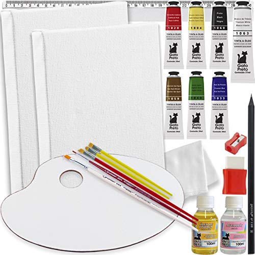 Mini Kit P/Pintura A Óleo C/Quadro Tela + Tintas + Paleta - Óleo