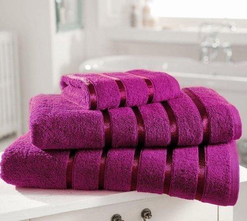 Juego de toallas de lujo de percal algodón egipcio 600gsm Extra suave Royal Kensington banda satinada (2 x de baño hojas, 2 x toallas de baño y 2 x toallas de mano) Magenta