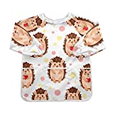 Adorable Cute Hedgehogs With Apple Bumkins Baberos con mangas con mangas largas 2-6 años Babero Niños grandes, niñas y niños Baberos impermeables para alimentos 3 bolsillos espaciosos