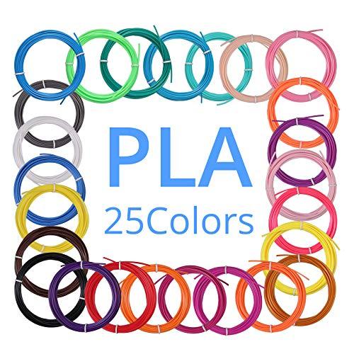 3D Stift Fliament, CAMWAY 3D Pen PLA Filament 1.75mm, 25 Farben je 5M, insgesamt 125M, 3D Stift Farben Set für 3D Drucker Stift, für allen gängigen 3D Druckstift: ODRVM, Tecboss, Lovebay usw