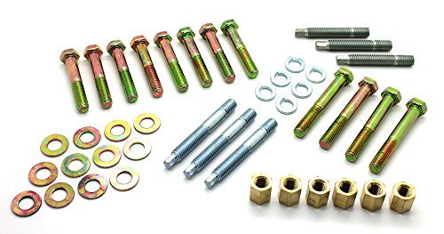 LatchWell PRO-9701001 SBC Small Block Chevy Ram Horn Exhaust Manifold Complete Bolt & Stud Kit