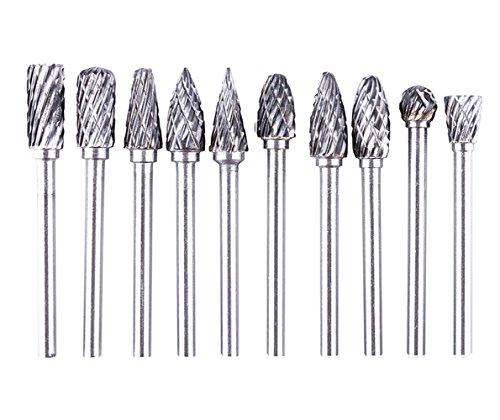 sunreek 10 1/20,3 cm Wolfram Hartmetall-Frässtifte, Double Cut Rotary Grat 3 mm Schaft für Dremel Rotary Werkzeuge Fräser Gravur Bits