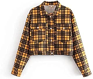 HMJZLyweiwei Autumn Jacket Women Fashion Lapel Short College Style Plaid Jacket Long Sleeve Top (Color : Yellow, Size : S)