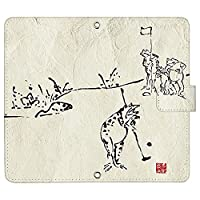 Pixel 4a (5G) ケース [デザイン:11.ゴルフ(白)/マグネットハンドあり] 鳥獣戯画 色々競技編 スポーツ ピクセル4a pixel4a5g 手帳型 スマホケース スマホカバー 手帳 携帯 カバー