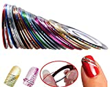 Hosaire 30pcs 30 Multicolor Mixed Colors Rollos Striping Línea de Cinta Nail Art Decoración Sticker DIY uñas Color Aleatorio
