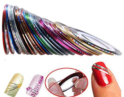 Hosaire 30pcs 30 Multicolor Mixed Colors Rollos Striping