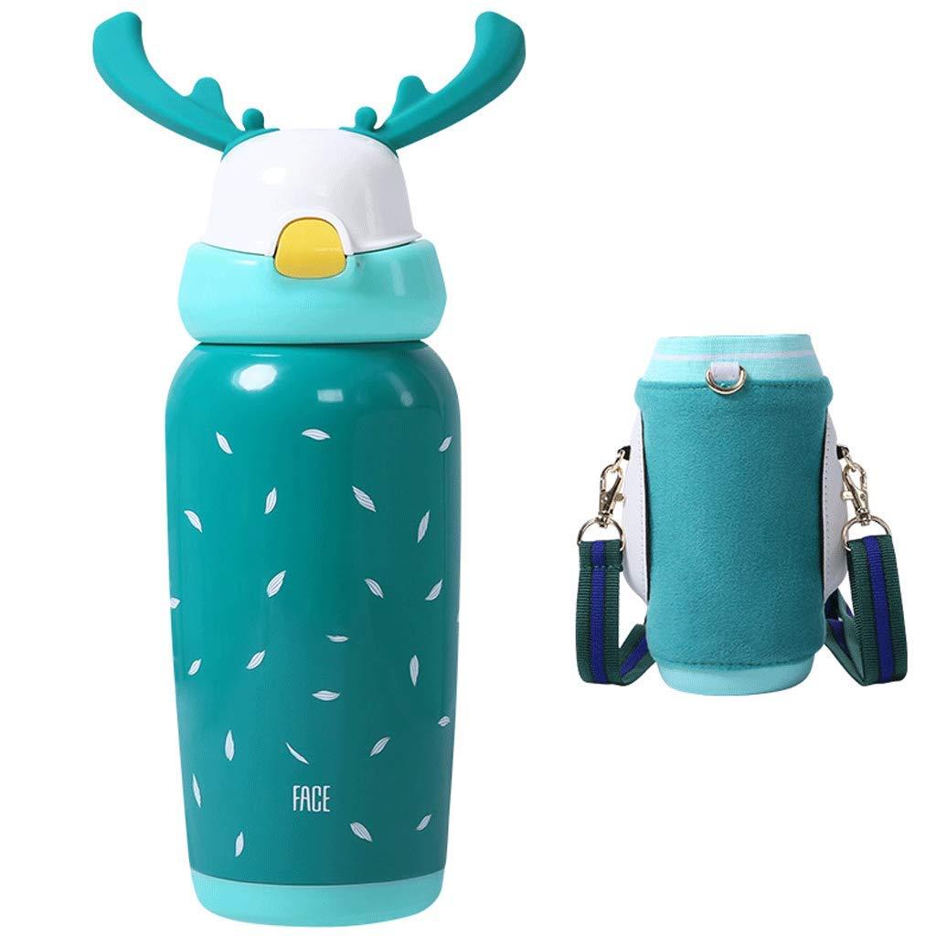 FRF ウォーターカップ- わらの絶縁材のコップ、学生の幼稚園の赤ん坊水コップ450mlが付いている子供 (色 : Green, サイズ さいず : 8.5x24cm)
