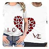 Camiseta día de San Valentín,ZODOF Camisetas Mujer Verano t-Shirt Amante Manga Corta Cuello Redondo Carta de Amor Impresa Camisetas Tops Blusas Talla Grande Verano Valentine's Day Regalo(Hombres)