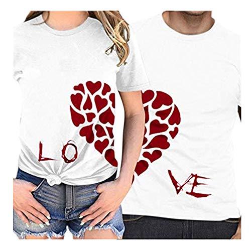 Camiseta día de San Valentín,ZODOF Camisetas Mujer Verano t-Shirt Amante Manga Corta Cuello Redondo Carta de Amor Impresa Camisetas Tops Blusas Talla Grande Verano Valentine's Day Regalo(Mujeres)