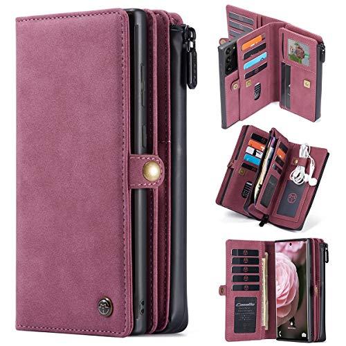 Note20 for Samsung Ultra anti-drop caja del teléfono móvil, con una cubierta abatible de 17 tarjetas de carteras de múltiples funciones de la cremallera, la adsorción imán desmontable funda de teléfon