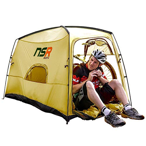 NSR Bicycle Camping Tent, Anti-Theft Design Secures and Stores Bike Inside Tent [Road Cycle/Olive]