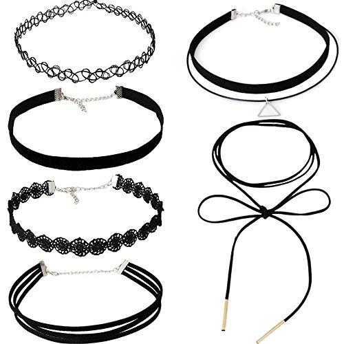 Limeow Zwarte choker-halsbandenset voor dames, sexy halsbanden voor dames, zwart