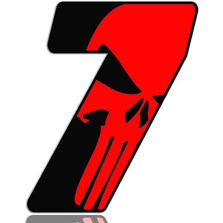 Biomar Labs Startnummer Nummern Auto Moto Vinyl Aufkleber Sticker Skull Schädel Punisher Rot Motorrad Motocross Motorsport Racing Nummer Tuning 7 N 357 Auto