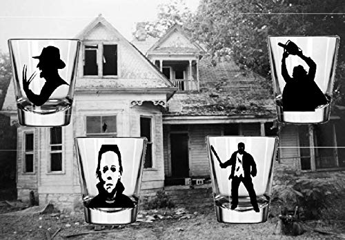 4 Slasher Shot Glasses Michael Myers Freddy Jason Leatherface Horror Halloween Merch Massacre Bar Drinkware