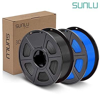 SUNLU PLA Plus Filament 1.75mm 3D Printer 3D Pens 2KG PLA+ Filament +/- 0.02 mm, Black+Blue