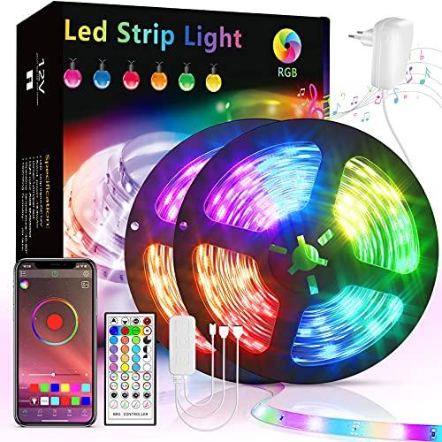 Ruban Led, Lumière Led 10M Ruban APP Bluetooth Bande Led RGB Lumiere chambre Led Couleur Dimmable Contrôle par Application, lumieres leds chambre bande RGB Bluetooth pour Mur, Chambre et Escaliers