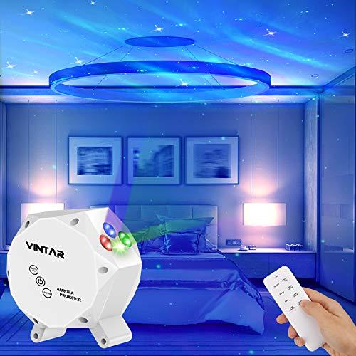 VINTAR Sternenhimmel Projektor, 3-in-1-LED Aurora Sternenlicht Projektor,Nachtlicht projektor mit Fernbedienung,Sound Control Licht für Raumdekoration/Party/Weihnachten/Ostern
