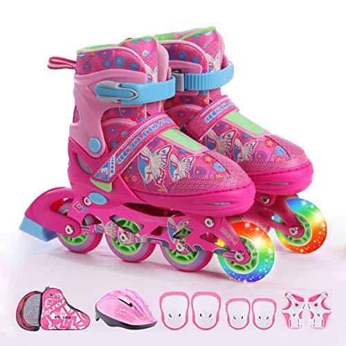 Ice-Beauty-ukzy Kinder Inline Skates,Einstellbare Rollschuhe Set Jungen Mädchen Leucht PU Räder -für Anfänger Gute Geschenk Für Kinder (In Vier Farben Erhältlich) pink 2 Wheel Flash-XS(25~30)