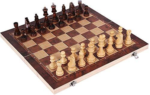 LLDKA Juego de Mesa de Madera clásico, Tablero de ajedrez de Viaje, Juego de Dama de Backgammon Plegable portátil de Deluxe,24cm