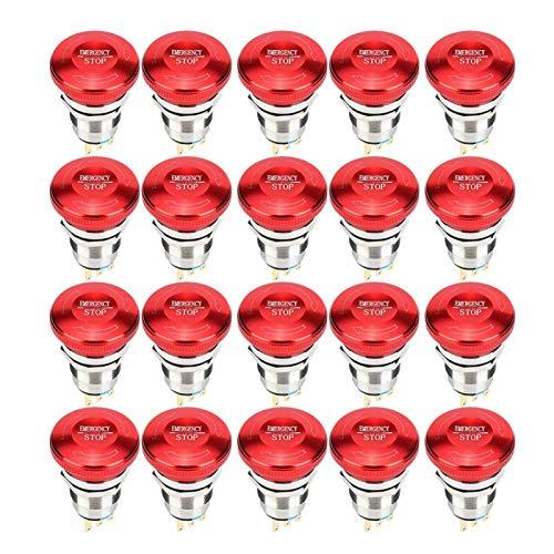 Interruptor de emergencia, 20 piezas Botón de parada de emergencia 1NC 1NO C Botón de acero inoxidable 440V 10A IP65 IK08 para arrancadores electromagnéticos