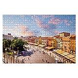 VJSDIUD Puzzle de Madera 1000 Piezas Hermosa Puesta de Sol Vista aérea de la región de Verona Veneto Italia Rompecabezas para niños o Adultos Juguetes educativos Juego de descompresión