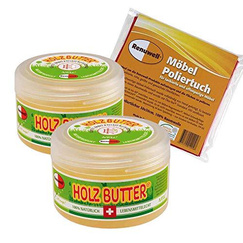 Renuwell Holz-Butter 2 x 250 ml + Möbel Poliertuch 4 Stück Spar-Set