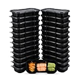 OTOR 25 Pack Meal Prep Containers Reusable Stackable Bento Boxes 3 Compartments with Clear Airtight Lids Food Grade Lunch Boxes Travel Containers BPA Free Dishwasher, Microwave, Freezer Safe 16OZ