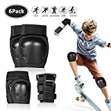 Kids Protective Gear Set 6 in 1, Knee Pads Elbow Pads Wrist Guards, Sleeve Design and Breathable Fabric, Size L (132-176 lbs) for Boys Girls Youth Skateboarding Cycling Scooter