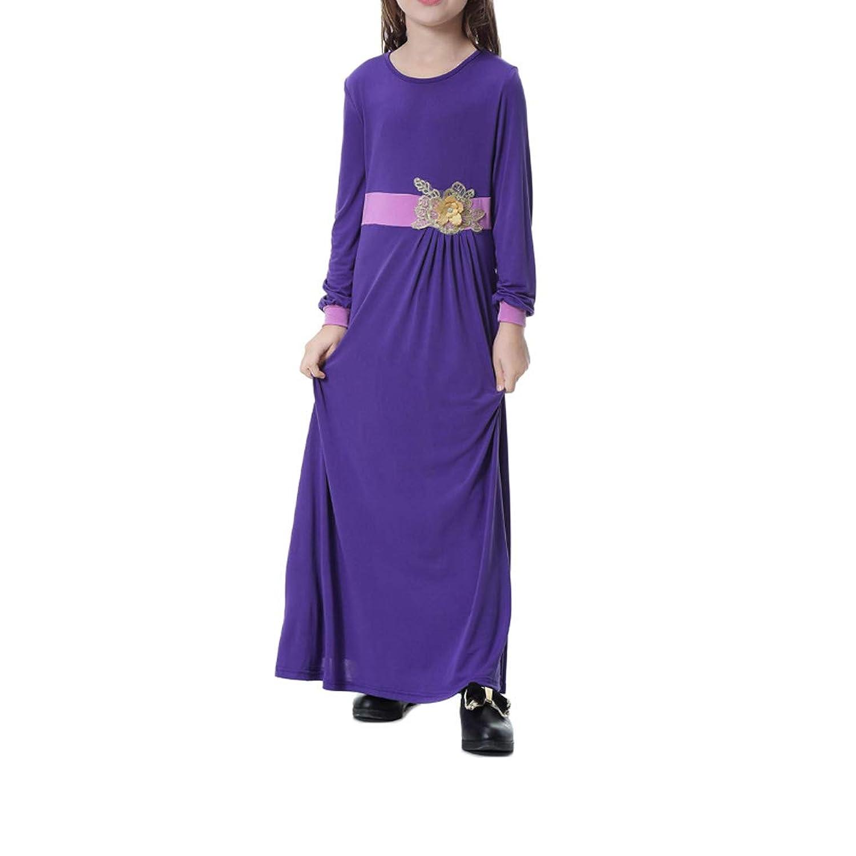 Huicai 女の子 イスラム教徒 3Dフラワー ステッチングカラー マキシ ドレス ロングスリーブ 子供スカート
