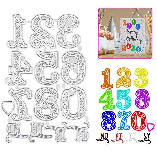 FAVENGO 14 Pcs Troqueles Números y Letras Troqueles Scrapbooking Troquel Manual Troquel...