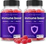 (2-Pack) Immune Boost Gummies for Kids & Adults - Powerful Immune Defense 6-in-1 Immunity Booster Support - Elderberry, Vitamin C, Zinc, Echinacea, Ginger - Vegan Gummy Vitamin Supplement, Cherry