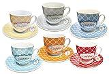 Borella Casalighi ámbar Juego de café con Plato, Porcelana, Colores Surtidos, 12Unidad