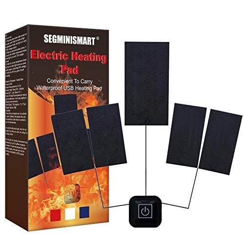 Almohadilla de calefacción eléctrica para ropa, almohadilla de calefacción de ropa, 5 en 1 USB almohadillas de calefacción para ropa para invierno interior o exterior camping